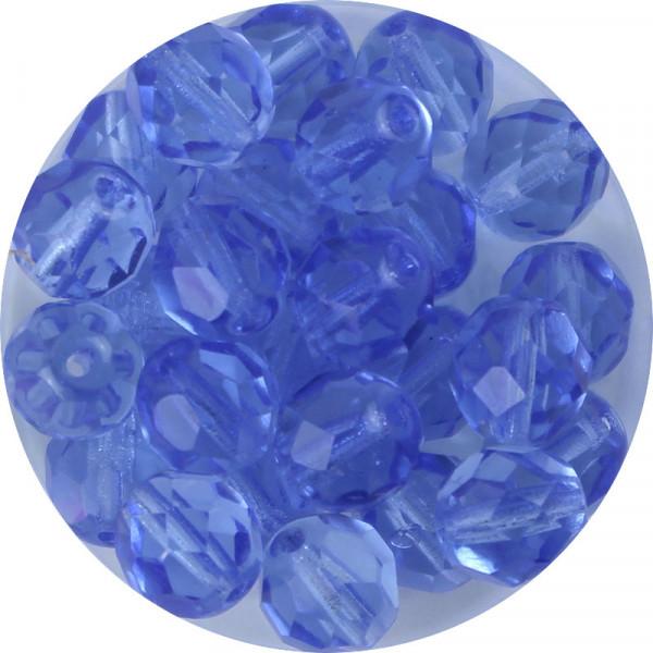 Glasschliffperlen, feuerpoliert, 8 mm, transp. hell safir