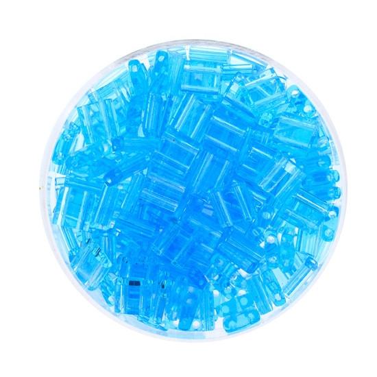 Tila-Beads, 2-loch Viereck, 6gr. Dose, transparent safir