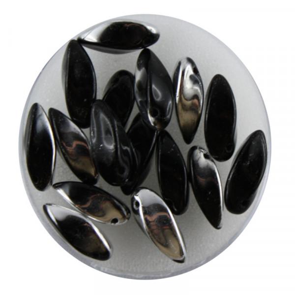 Dagger-Beads, 16 Stück pro Dose, 12x6mm, schwarz silber