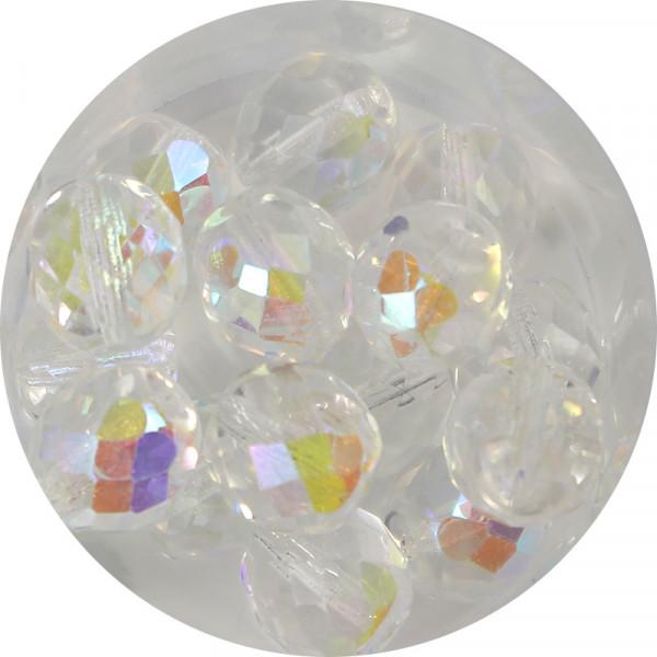 Glasschliffperlen, feuerpoliert, 10 mm, bedampft kristall AB