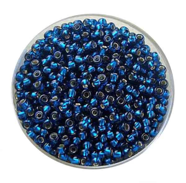 Rocailles, silbereinzug, 2,6mm, 17gr. Dose, montanblau