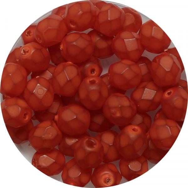 Glasschliffperlen, feuerpoliert, 6 mm, opal matt orange