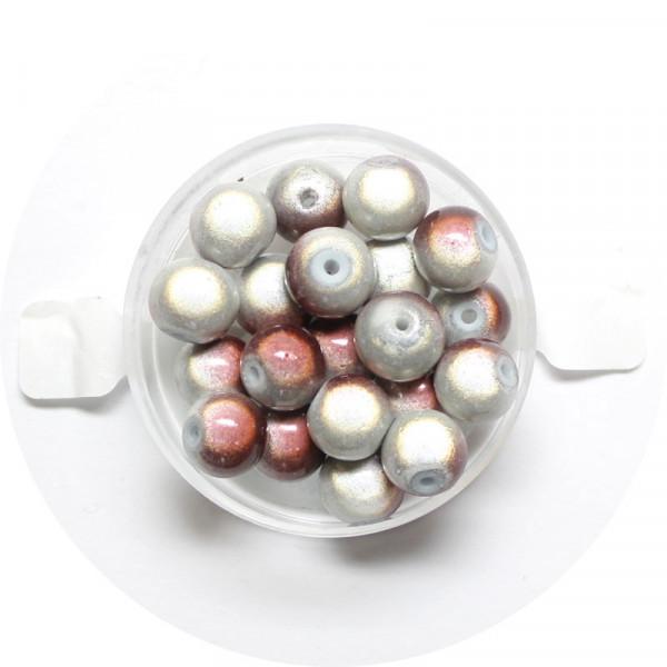 Miracle-Beads Glasperlen, 20 Stck., 8mm, braun-weiß