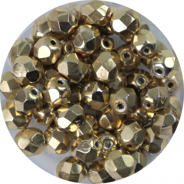 Glasschliffperlen, feuerpoliert, 6 mm, bedampft, goldfarben
