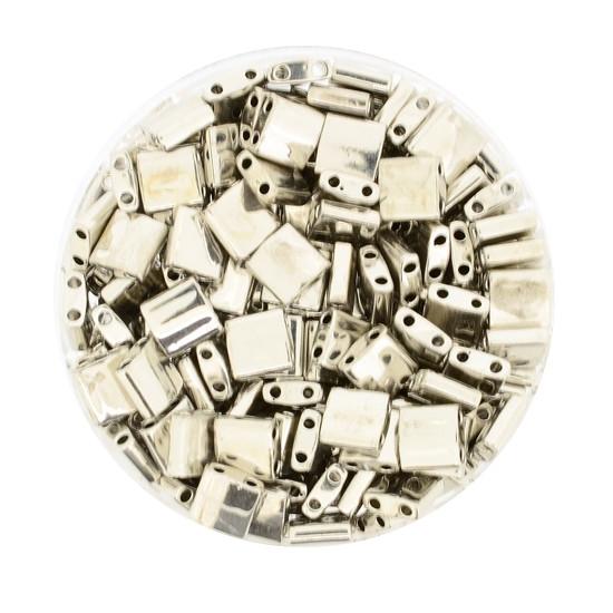 Tila-Beads, 2-loch Viereck, 4gr. Dose,echt versilbert