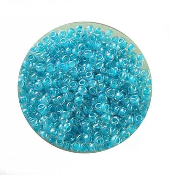 Rocailles, Farbeinzug glänzend, 2,6mm, 17gr. Dose, türkisgrün
