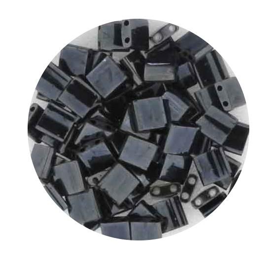 Tila-Beads, 2-loch Viereck, 6gr. Dose, hematite
