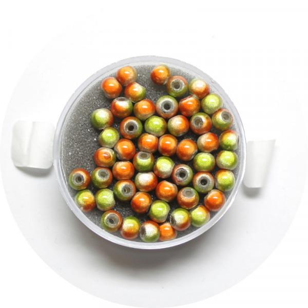 Miracle-Beads Glasperlen, 50 Stck., 4mm, orange-grün