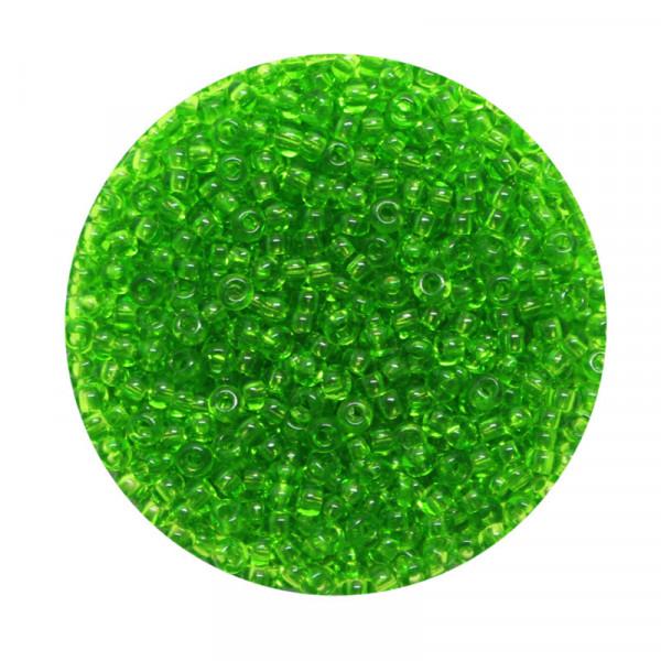 Rocailles, transparent glänzend, 2,6mm, 17gr. Dose, grün
