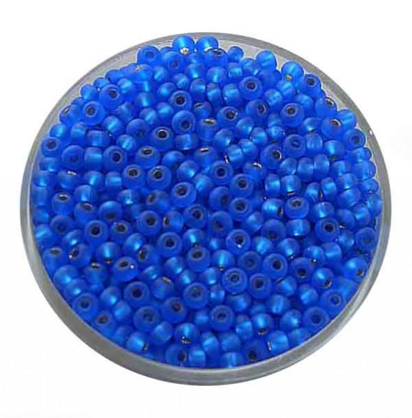 Rocailles, silbereinzug matt, 2,6mm, 17gr. Dose, blau