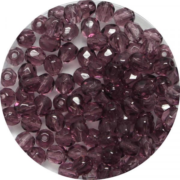 Glasschliffperlen, feuerpoliert, 4 mm, transp. dark amethyst