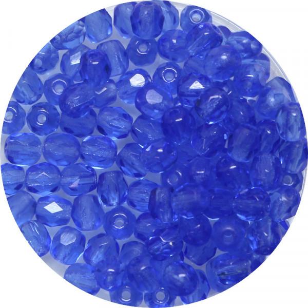 Glasschliffperlen, feuerpoliert, 4 mm, transp. safir