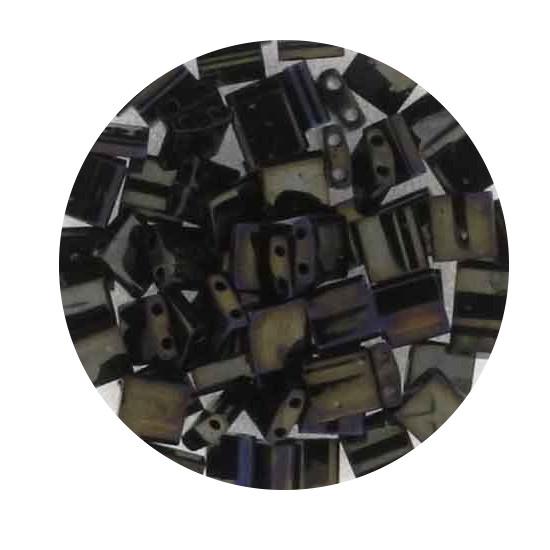 Tila-Beads, 2-loch Viereck, 6gr. Dose,blue-gold metallic matt