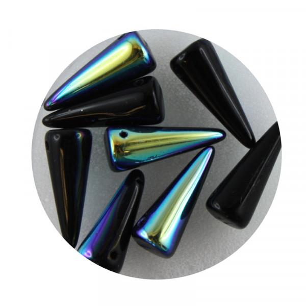 Spike Beads,7x17mm,8 Stück,jet AB