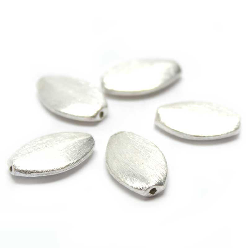 Wisilva Perlen, Oval, versilbert, gebürstet, 18x12 mm, 5 Stück ...