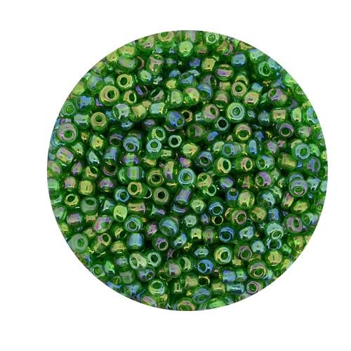 Rocailles aus China, 17gr. Dose, 2,6mm,dunkelgrün AB