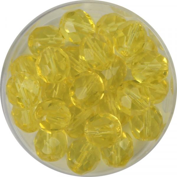 Glasschliffperlen, feuerpoliert, 8 mm, transp. hellgelb
