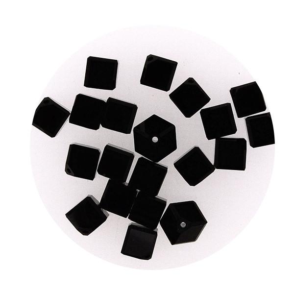 Swarovski Würfel, diagonal gestochen, 6mm, 2St.,schwarz