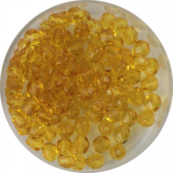 Glasschliffperlen, feuerpoliert, 4 mm, transp. topas