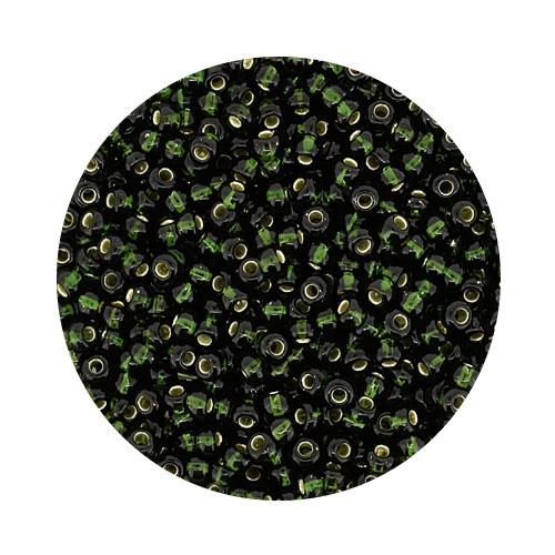 Rocailles, silbereinzug, 2,6mm, 12gr. Dose, dkl.oliv