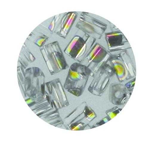 Glasperle, Rechteck, 5 mm, 7gr. Dose, kristall