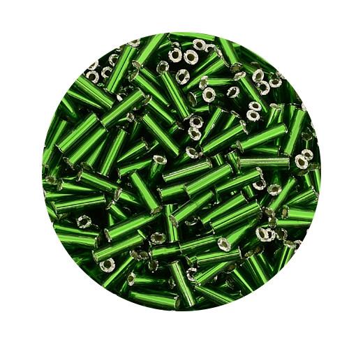 Glasstifte aus China, 17gr. Dose, 6mm, grün silbereinzug