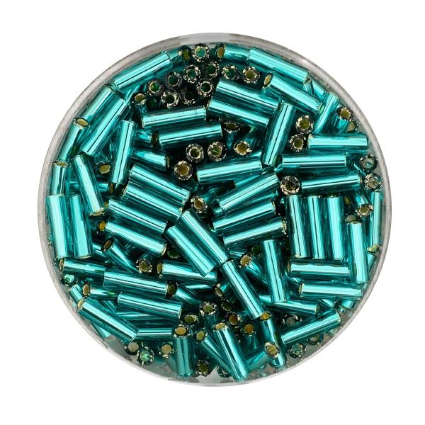 Glasstift, Silbereinzug, 6 mm, 17gr. Dose, türkis