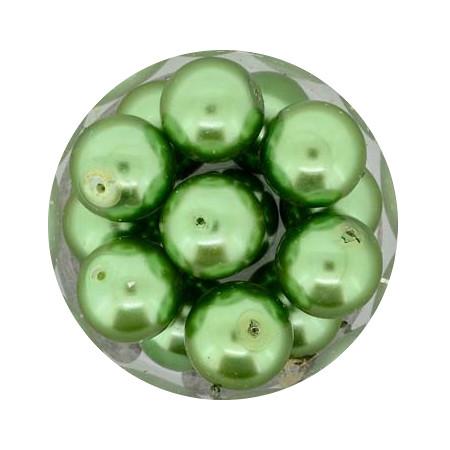 Pearl Renaissance, 12mm, 14 Stück, dunkelgrün