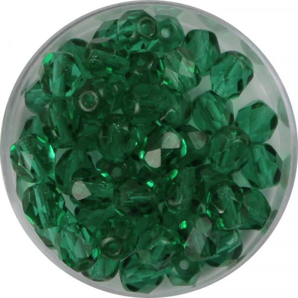 Glasschliffperlen, feuerpoliert, 6 mm, transp. emerald