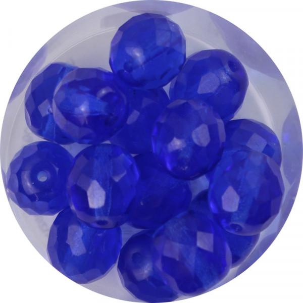 Glasschliffperlen, feuerpoliert, 10 mm, transp. safir