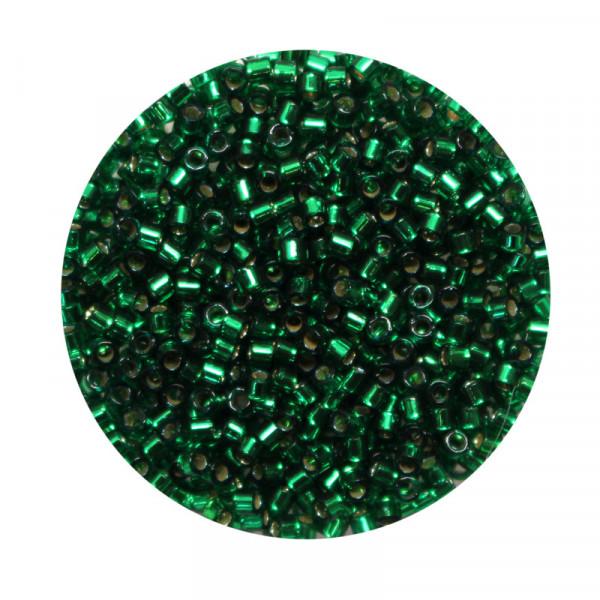 Miyuki Delicas, 10/0 (2,2mm), 7gr. Dose,silverlined emerald