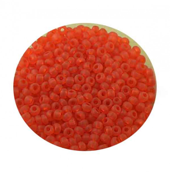 Rocailles, transparent matt, 2,6mm, 17gr. Dose, orange