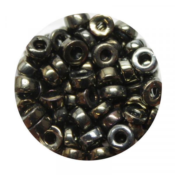 Glasperle, Großloch, 7 mm, 17gr. Dose, jet nut