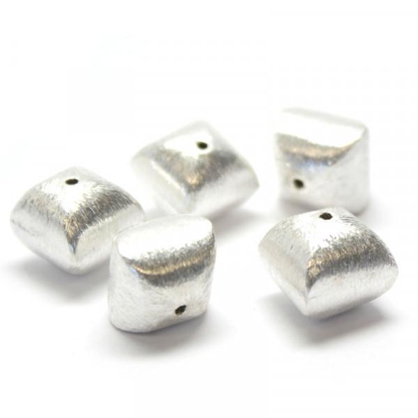 Wisilva Perlen, Kissen, versilbert, gebürstet, 12 mm, 5 Stück