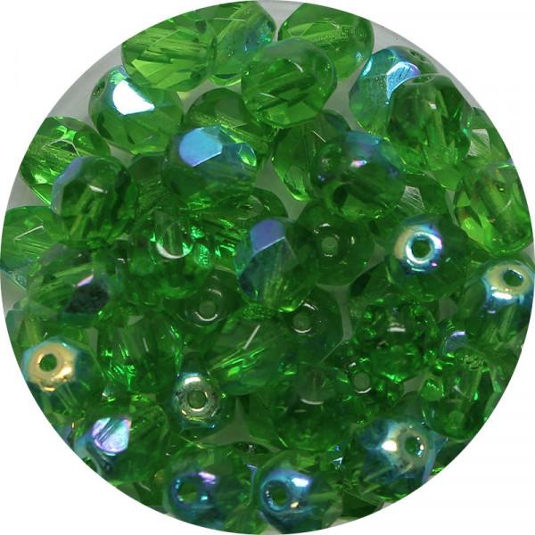 Glasschliffperlen, feuerpoliert, 6 mm, h. bedampft, emerald AB