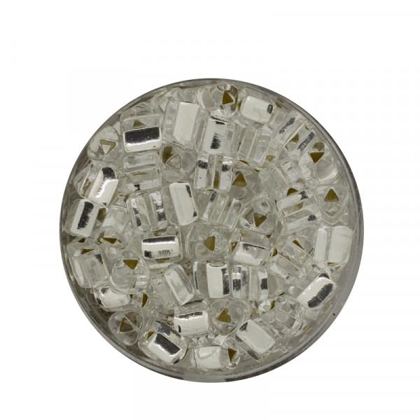 Glas-Dreieck, 5mm, 17gr.Ds., silbereinzug, kristall