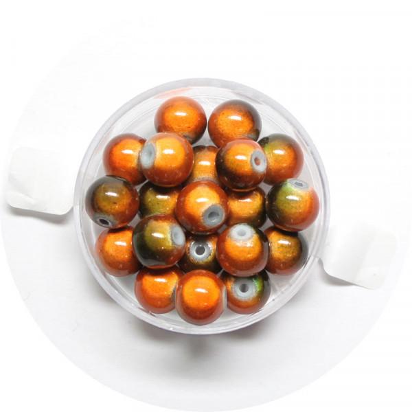Miracle-Beads Glasperlen, 20 Stck., 8mm, orange-oliv