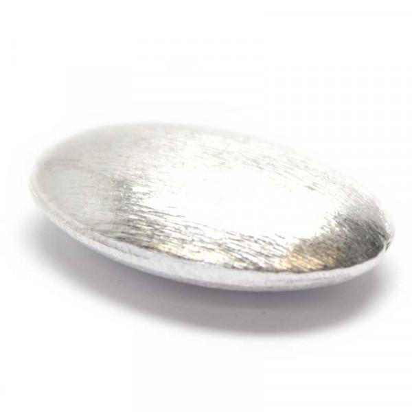 Wisilva Perlen, Oval, versilbert, gebürstet, 27x18 mm, 1 Stück