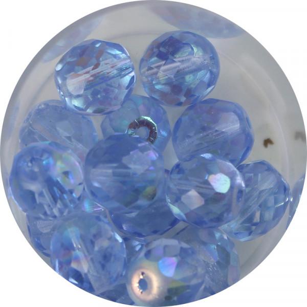 Glasschliffperlen, feuerpoliert, 10 mm, h- bedampft, safirblau A