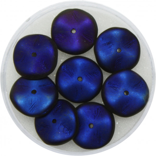 Hipple Beads, 12 mm, 8 Stück, schwarzblau matt