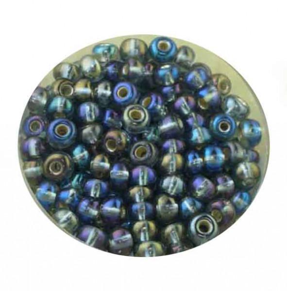 Rocailles, Rainbow AB-Effekt, 4,5mm, 17gr. Dose, grau