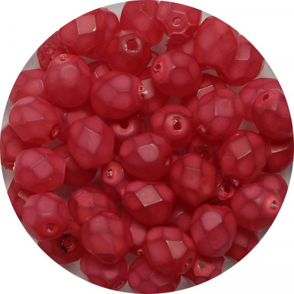 Glasschliffperlen, feuerpoliert, 6 mm, opal matt rot