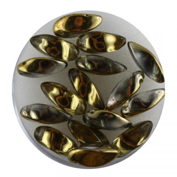 Dagger-Beads, 16 Stück pro Dose, 12x6mm, kristall gold