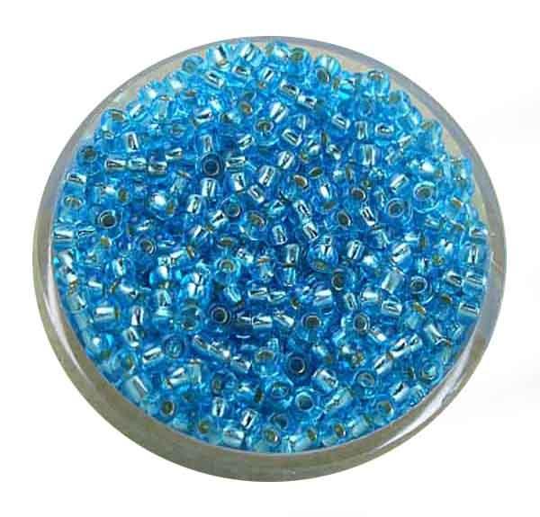 Rocailles, silbereinzug, 2,0mm, 17gr. Dose, blau