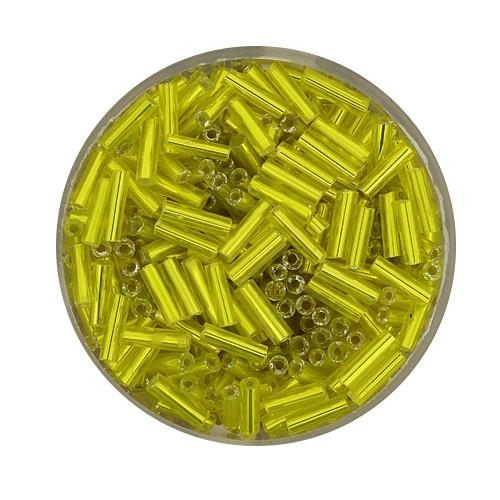 Glasstifte aus China, 17gr. Dose, 6mm,gelb silbereinzug