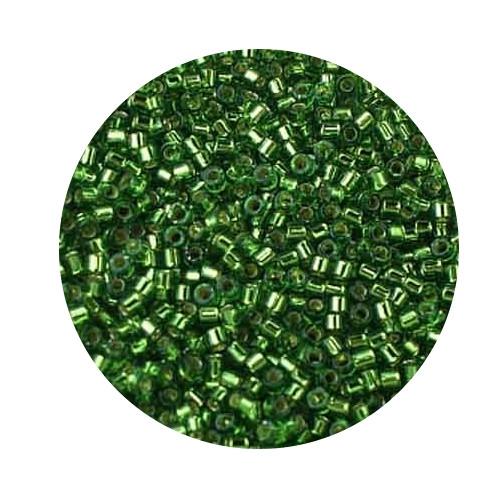 Miyuki Delicas, 11/0 (2,0mm), 9gr. Dose,silverlined green