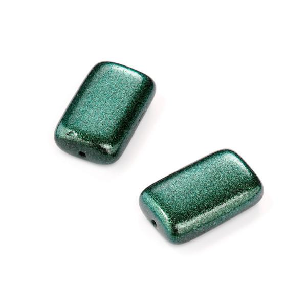 Metallic-Glasperle, Rechteck, 19x12 mm, 4 St, türkis
