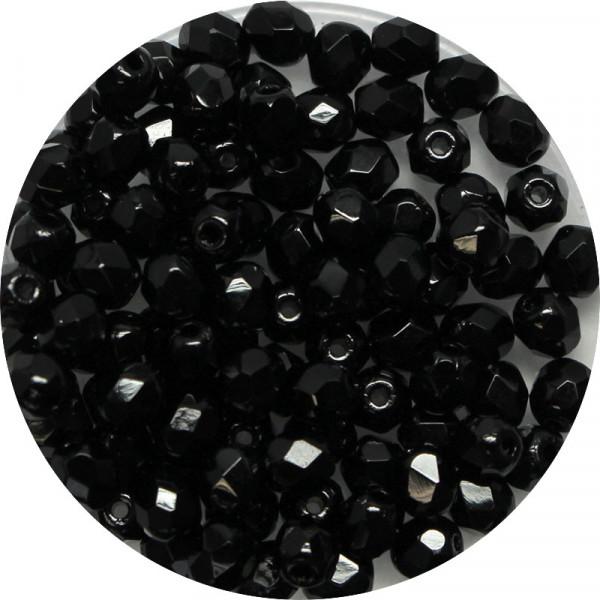 Glasschliffperlen, feuerpoliert, 4 mm, satt schwarz