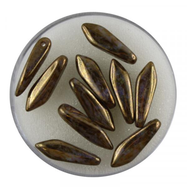 Dagger-Beads, 10 Stück pro Dose, 16x5mm, bronze