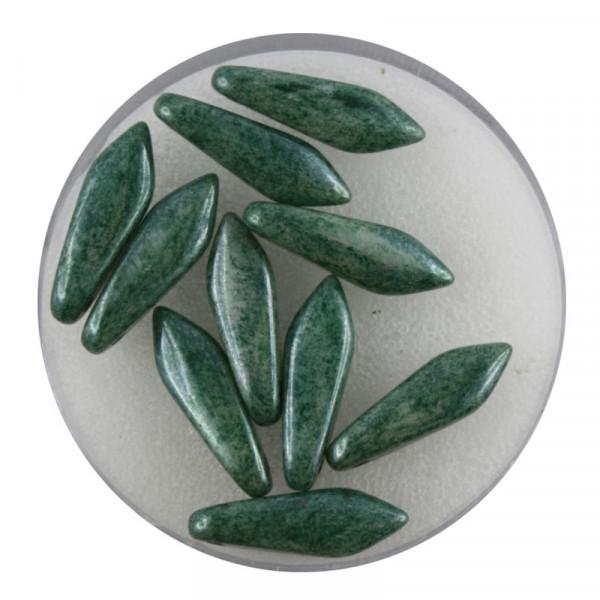 Dagger-Beads, 10 Stück pro Dose, 16x5mm, grün